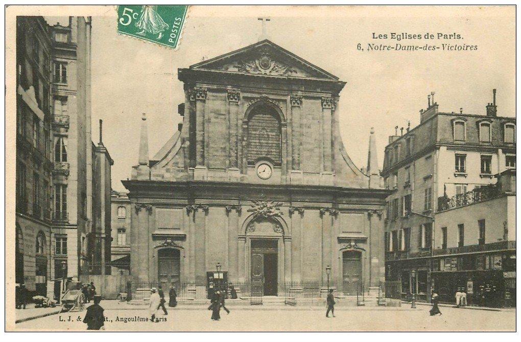 carte postale ancienne PARIS II° Eglise Notre-Dame des Victoires 1908