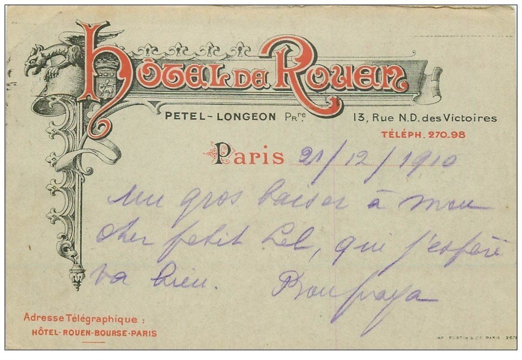 carte postale ancienne PARIS II° Hôtel de Rouen rue Notre-Dame des Victoires 1910