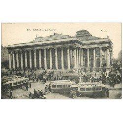 carte postale ancienne PARIS II° La Bourse. Autobus et Métropolitain 49