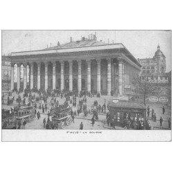 carte postale ancienne PARIS II° La Bourse. Hippomobiles à Impériales
