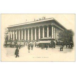 PARIS 02 La Bourse. Hippomobiles Passy-Bourse vers 1900