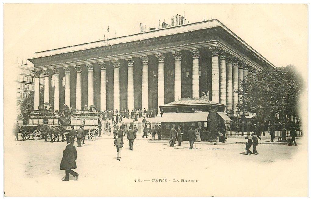 carte postale ancienne PARIS II° La Bourse. Hippomobiles Passy-Bourse vers 1900 n°18