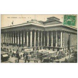 carte postale ancienne PARIS II° La Bourse. Métropolitain et Taxis 1923