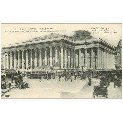 carte postale ancienne PARIS II° La Bourse. Taxis, Fiacres et Autobus 4071