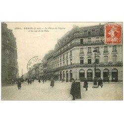 carte postale ancienne PARIS II° Place Opéra et Rue de la Paix 1913