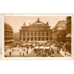 carte postale ancienne PARIS II° Place Opéra Théâtre et Autobus à Plateforme. Bouche du Métropolitain