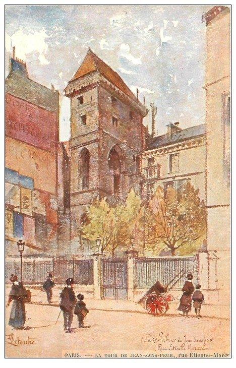carte postale ancienne PARIS II° Tour Jean-sans-Peur rue Etienne Marcel par Leteurtre
