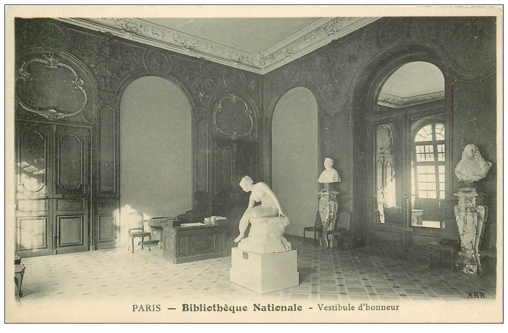 carte postale ancienne PARIS II° Vestibule Bibliothèque Nationale