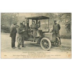 carte postale ancienne PARIS MODERNE. Taxi Chauffeuse d'Autotax verbalisée. Contravention au Bois 1909