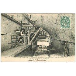 carte postale ancienne PARIS SOUTERRAIN. Les Egouts 1907. Service Assainissement. Drague Diderot pour désablement