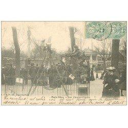 carte postale ancienne PARIS VECU. Balançoires aux Champs-Elysées 1906