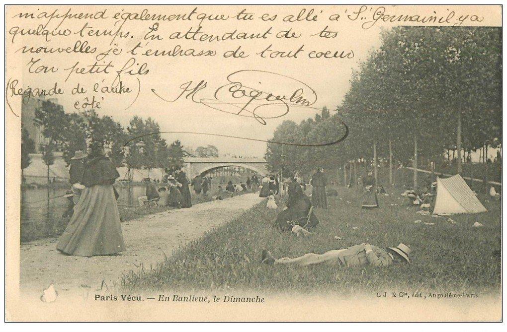 carte postale ancienne PARIS VECU. En Banlieue le Dimanche 1905 la sieste