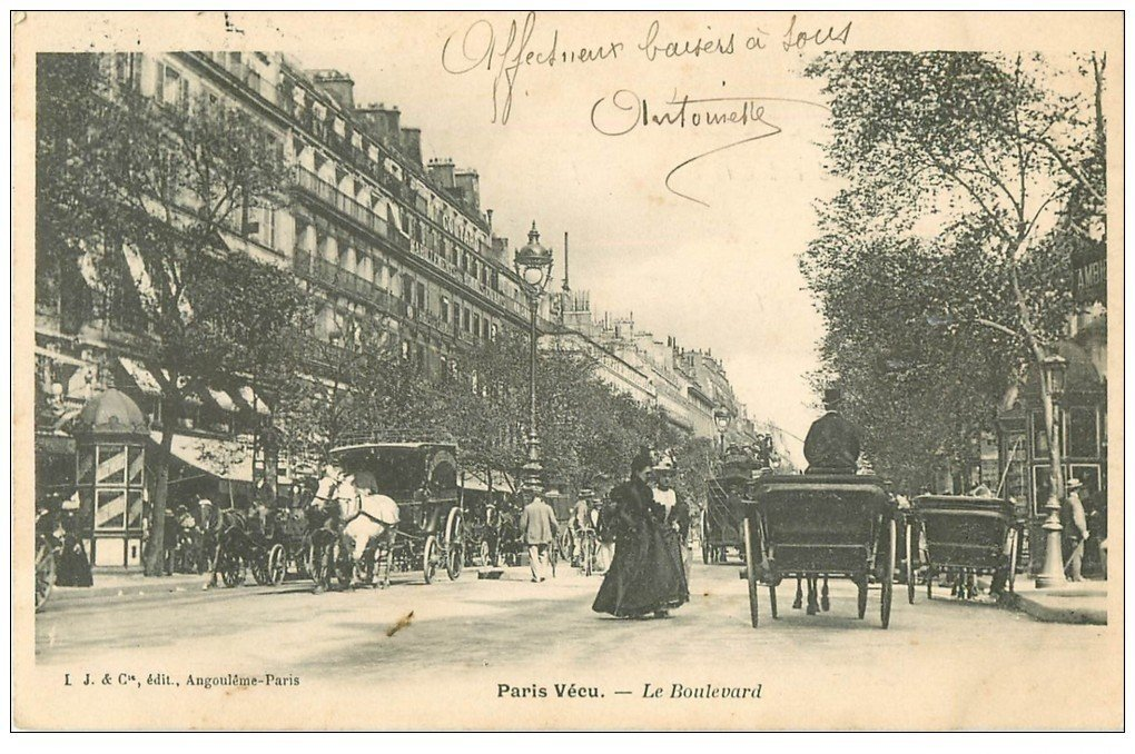 carte postale ancienne PARIS VECU. Le Boulevard 1905