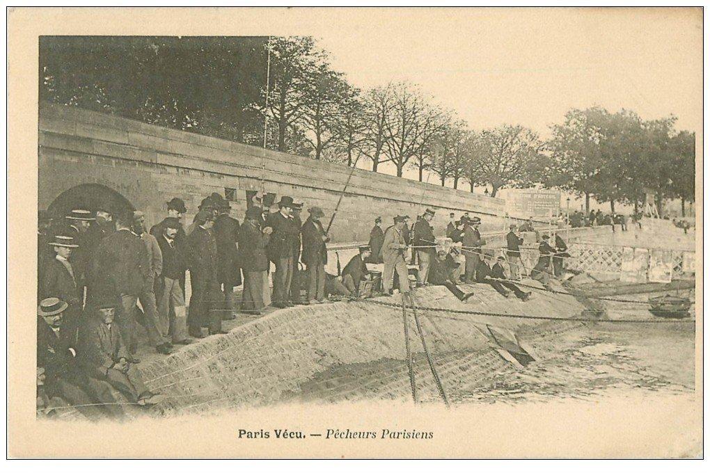 carte postale ancienne PARIS VECU. Pêcheurs Parisiens sur la Seine vers 1900