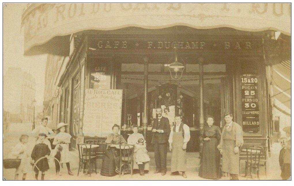 PARIS XV. Superbe et Rare Photo Carte Postale au Roi du Café Duchamp 59 Rue Lecourbe et Rue Croix Nivert