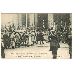 carte postale ancienne PARIS. Centenaire République 1920. Hommage au Poilu Inconnu et à Gambetta au Panthéon