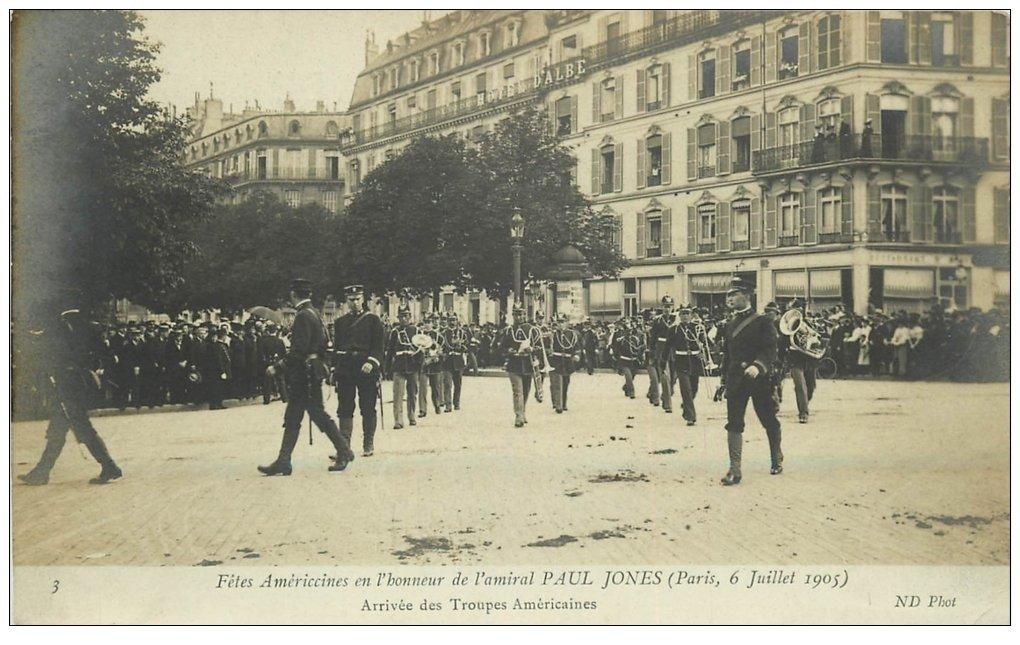 carte postale ancienne PARIS. Fêtes Américaines pour Amiral Paul Jones 1905. Troupes Américaines Avenue Alma
