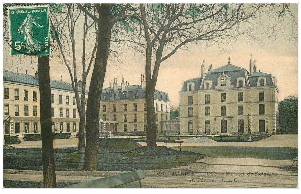 carte postale ancienne PARIS. Hôpital Hôpitaux. Maison de Retraite Sainte-Perine. Auteuil 1910