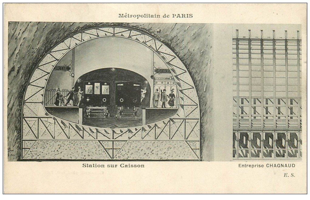 carte postale ancienne PARIS. Le Métropolitain. Station sur Caisson par Chagnaud