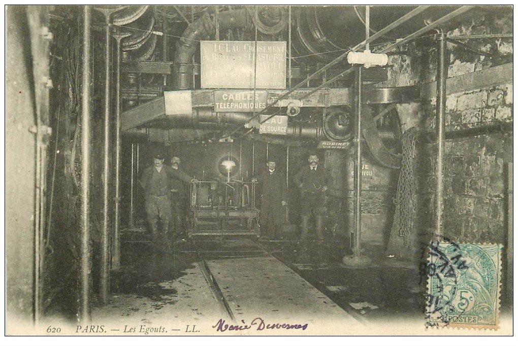 carte postale ancienne PARIS. Les Egouts 1906