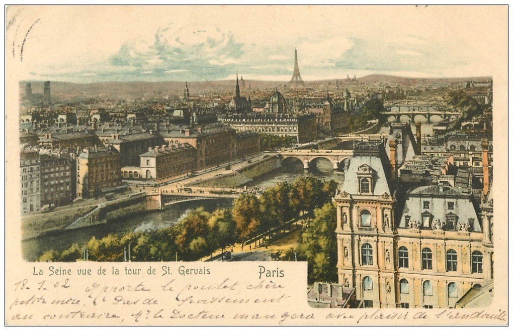 carte postale ancienne PARIS. Les Ponts et la Seine 1902 vus de la Tour Saint-Gervais