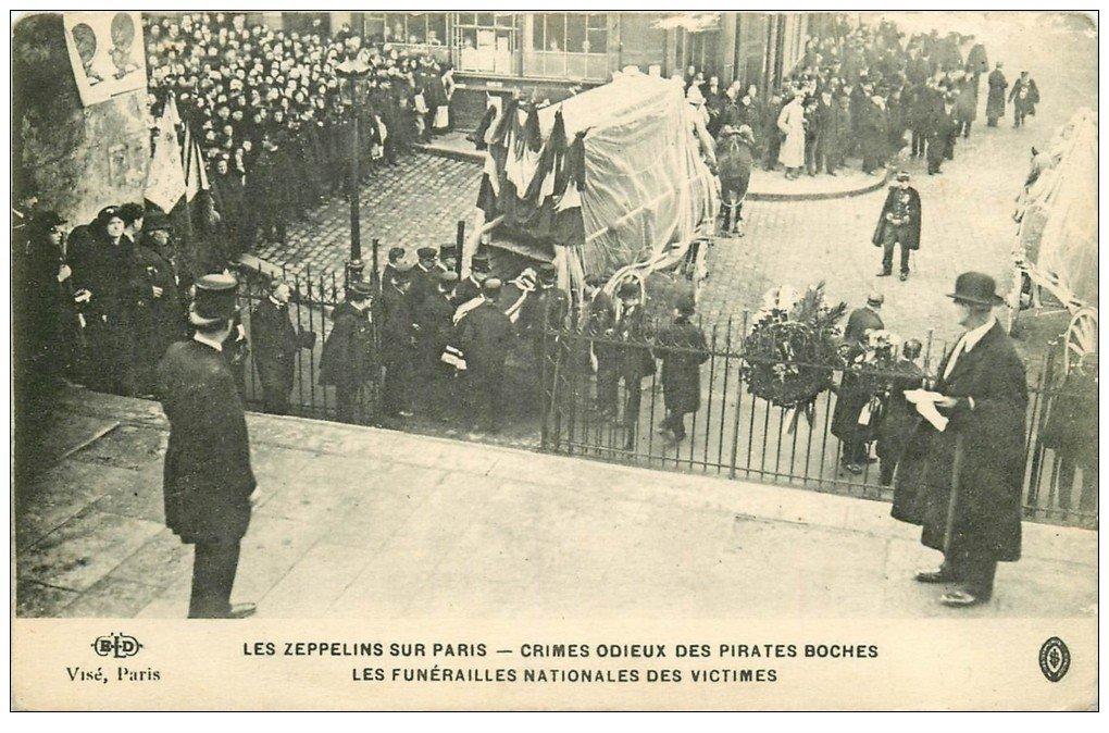 carte postale ancienne PARIS. Les Zeppelins Funérailles Nationales des Victimes. ELD Crimes odieux