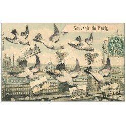 carte postale ancienne PARIS. Multivues 1907 Pigeons avec Cartes Postales