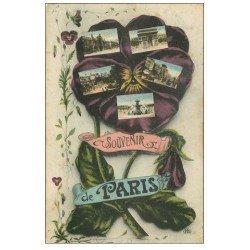carte postale ancienne PARIS. Multivues 1918 fleur Pensée