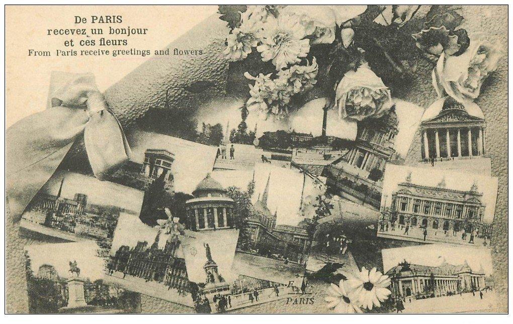 carte postale ancienne PARIS. Multivues 1919 avec fleurs. Collection Fleury