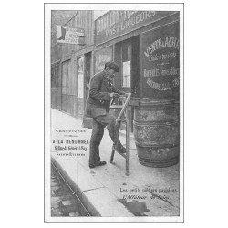 carte postale ancienne PARIS. Petits Métiers parisiens. L'Affûteur de Scies. Chaussures à la Renommée Saint-Etienne