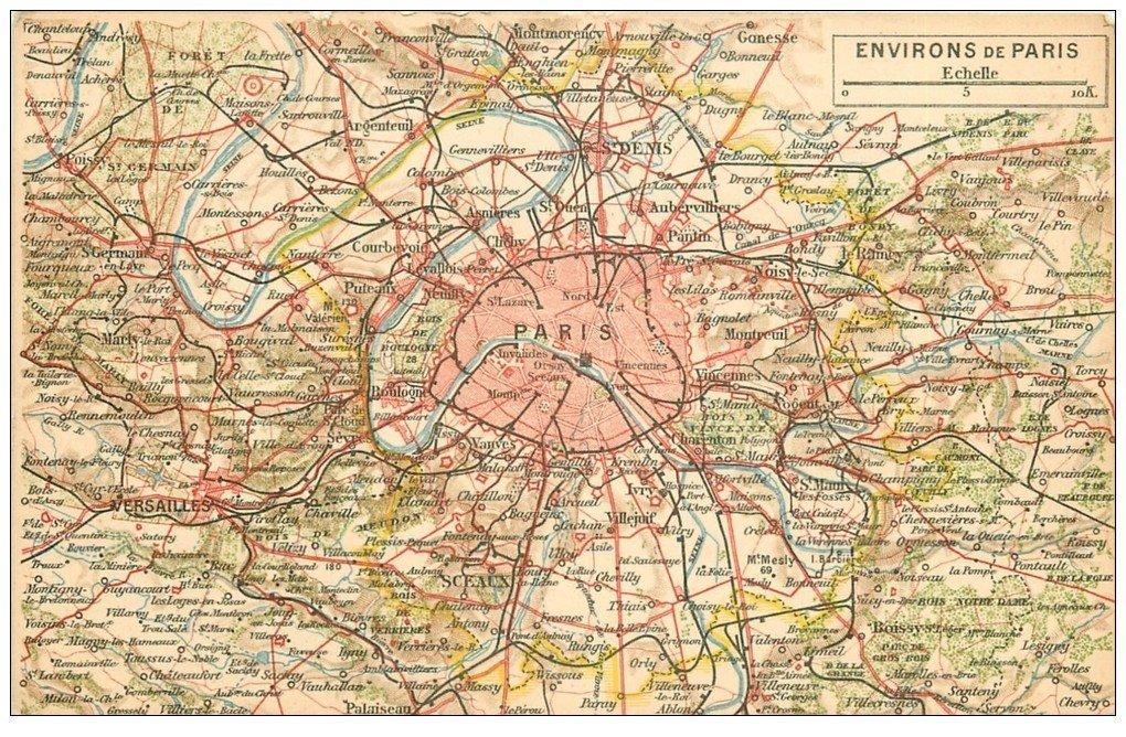 carte postale ancienne PARIS. Plan de Paris et environs