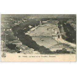 carte postale ancienne PARIS. Ponts vus du Trocadéro