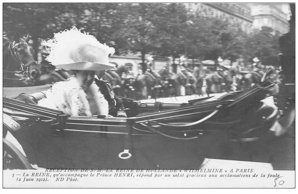 carte postale ancienne PARIS. Réception de la Reine d'Hollande Wilhelmine et Prince Henri