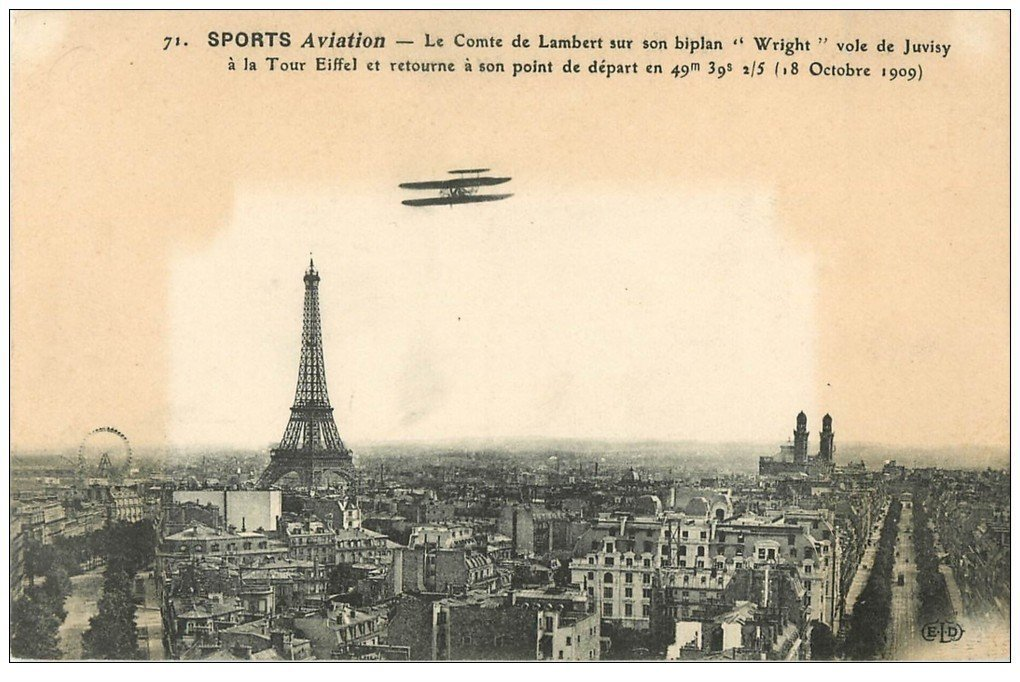 carte postale ancienne PARIS. Sports Aviation. Comte Lambert sur biplan Wright de Juvisy à la Tour Eiffel. Aéroplane Avion