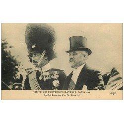 carte postale ancienne PARIS. Visite des Souverains Danois. Roi Christian et Poincaré en 1914