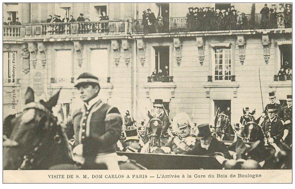 carte postale ancienne PARIS. Visite Dom Carlos en Gare du Bois de Boulogne