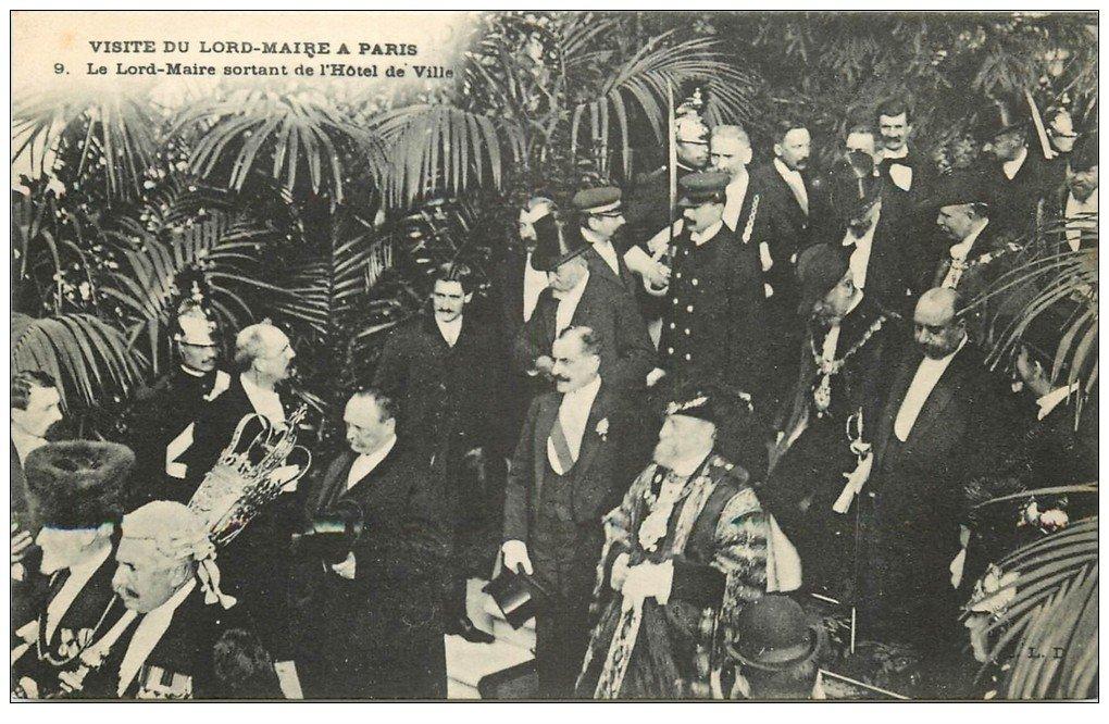 carte postale ancienne PARIS. Visite du Lord-Maire à l'Hôtel de Ville