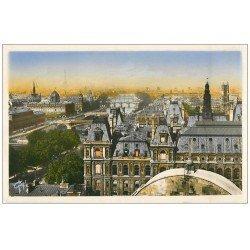 carte postale ancienne PARIS. Vue des 8 Ponts photo émaillographie