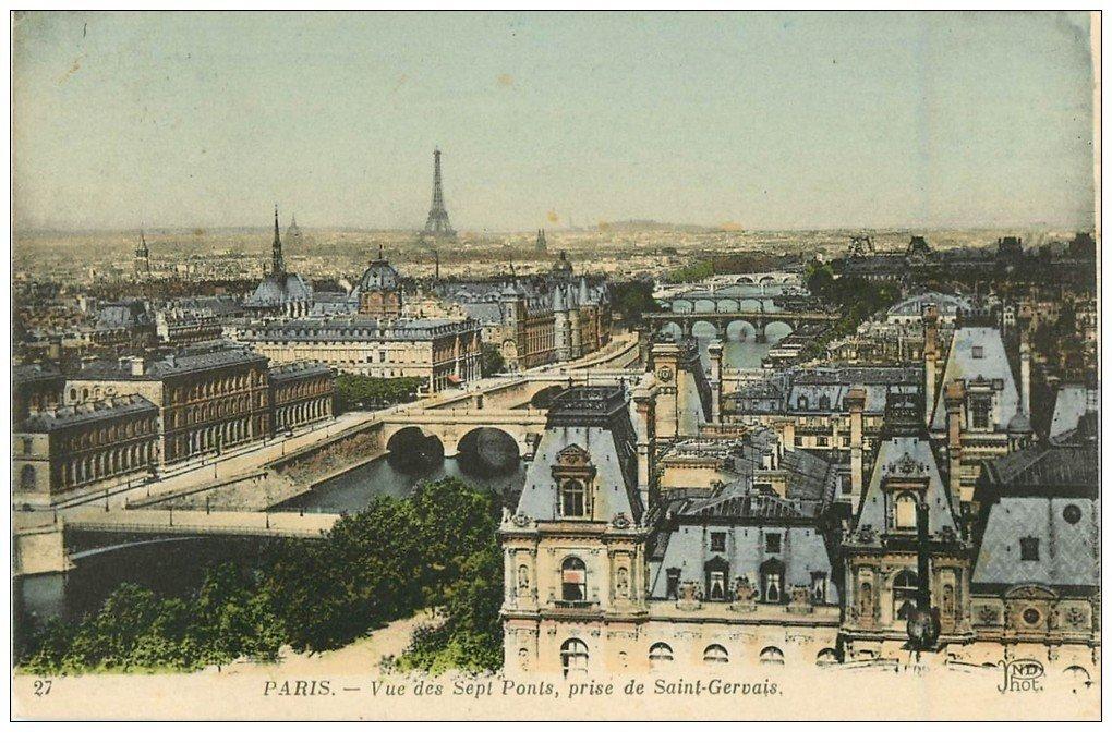carte postale ancienne PARIS. Vue des Sept Ponts prise de Saint-Gervais