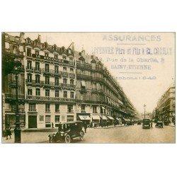Superbe Carte Photo PARIS 01. Avenue de l'Opéra. Assurances Le Secours et Banque du Sud. Tampon Lefebvre Saint-Etienne