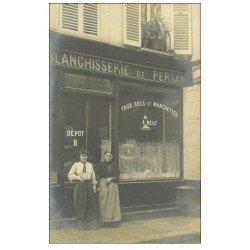 carte postale ancienne Superbe Carte Photo PARIS 06. Blanchisserie de Persan 36 Rue Saint-André -des-Arts 1906 pour Bagnolet