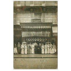 carte postale ancienne Superbe Carte Photo PARIS 06. Boucherie du Bon Marché Duwavran 111 Rue de Sèvres vers 1906