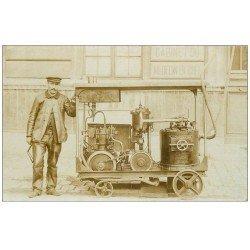 Superbe Carte Photo PARIS 09. Rare n des premiers Compresseur à vapeur à l'Hôpital 1906. Société 80 Rue Taibout