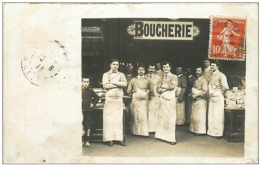 carte postale ancienne Superbe Carte Photo PARIS 12. Boucherie Cibiel 28 Rue de Lappe 1911