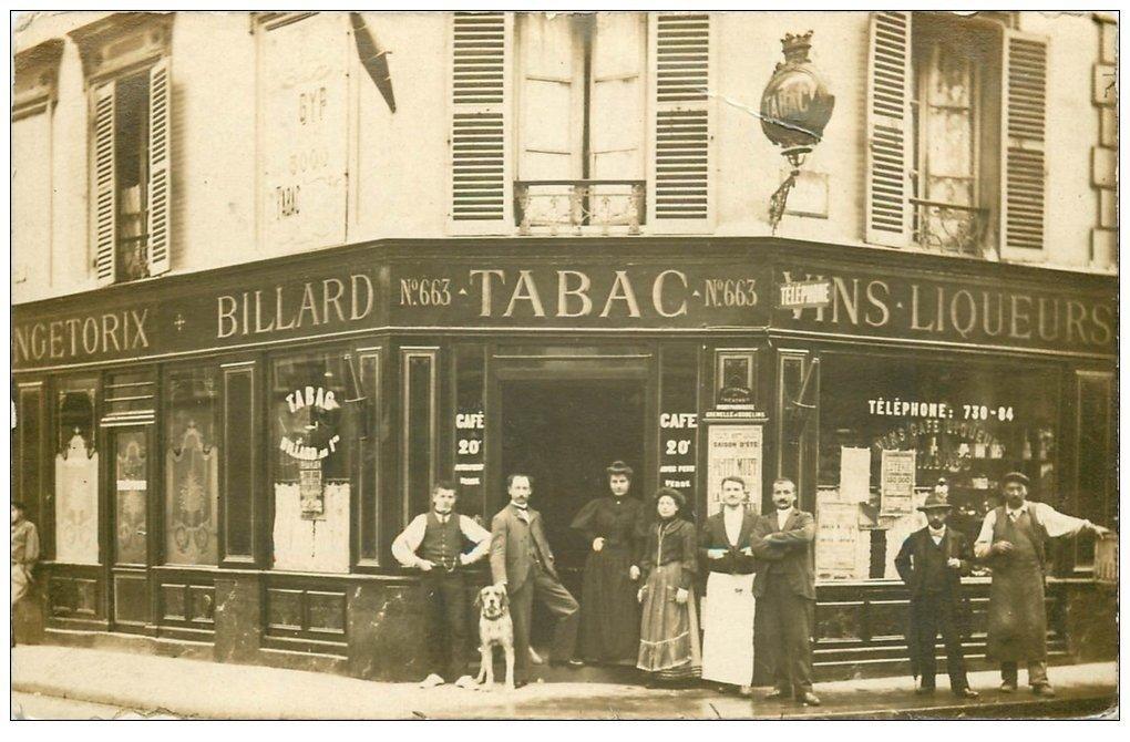 superbe carte photo paris 14 caf billard tabac vercing torix et rue gergovie 1905 avec chien. Black Bedroom Furniture Sets. Home Design Ideas
