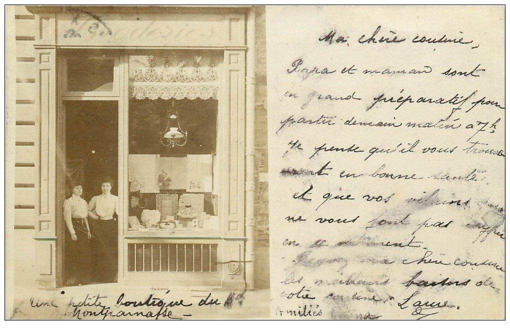 carte postale ancienne Superbe Carte Photo PARIS 14. Magasin Broderie et Dentelles Boulevard Montparnasse 1906