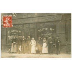 carte postale ancienne Superbe Carte Photo PARIS 15. Café Restaurant Dallet Boulevard Vaugirard 1908 avec Chien