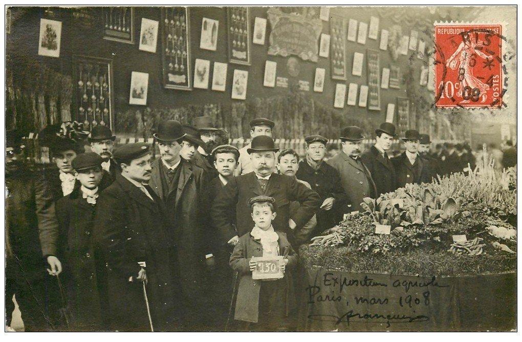 carte postale ancienne Superbe Carte Photo PARIS 15. Porte de Versailles. Exposition Agricole 1908