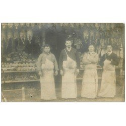 carte postale ancienne Superbe Carte Photo PARIS 17. Boucherie Volaille Charcuterie 13 Rue Collette 1905