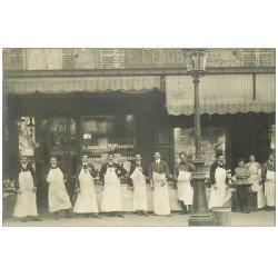 carte postale ancienne Superbe Carte Photo PARIS 17. Comestibles Traiteur Lenoble Rue Ampère